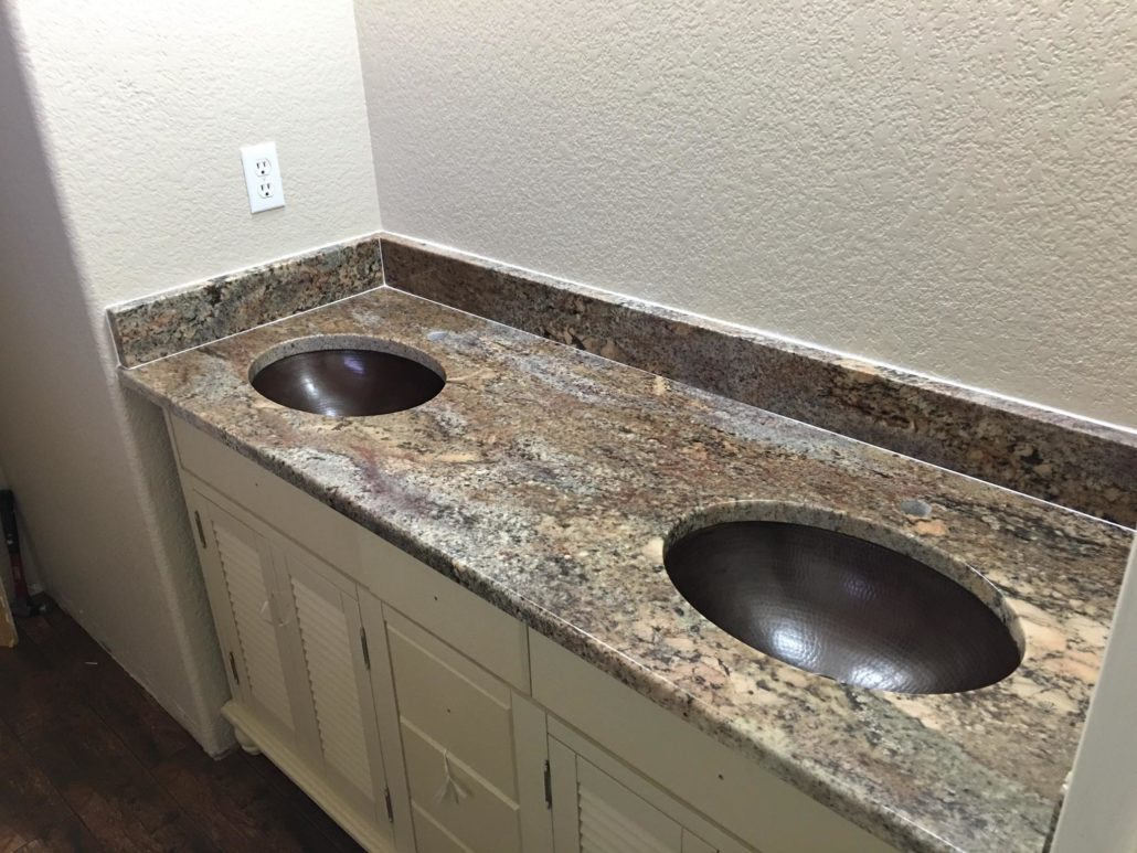 Vanity with Copper Sinks